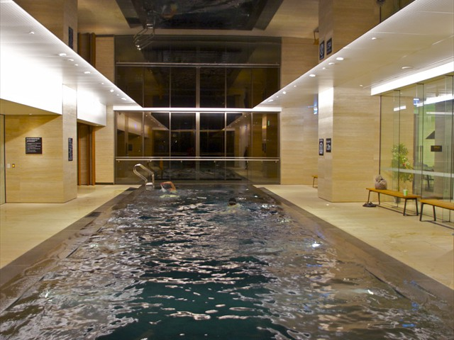 ABODE: Heated black granite infinity pool in level 9 spa centre, Sauna and Steam Room
