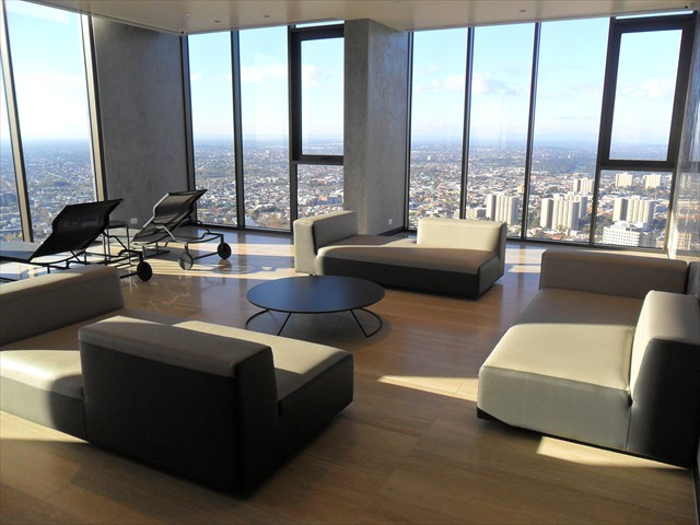 ABODE: Spa Centre lounge area (level 55) with spectacular skyline views of Melbourne